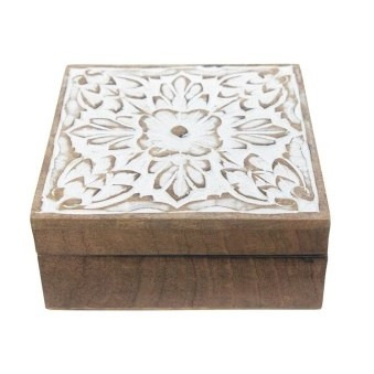 Spiral Wood Carved Box - White Distress 19x12cm