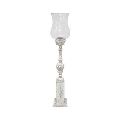 Spiro Wooden Hurricane W/ Glass - Crackle White - 87cmh