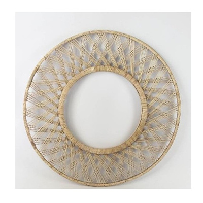 Spool Rattan Mirror - Natural & Black 80cm