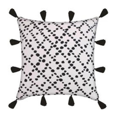 Spotted Cushion W Tassels - Black/White 45x45cm
