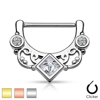 Square CZ Centered Floral Fan 316L Surgical Steel Nipple Clicker
