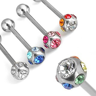 Stainless Steel Barbell w/Multi Crystal