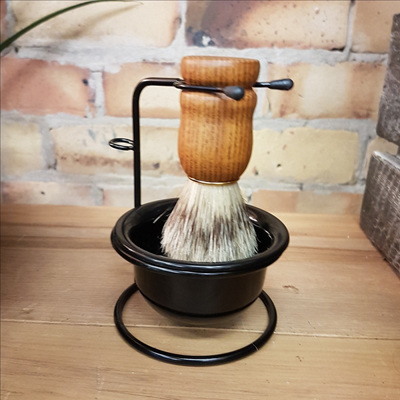 Stainless Steel Shaving Brush Holder w Dish