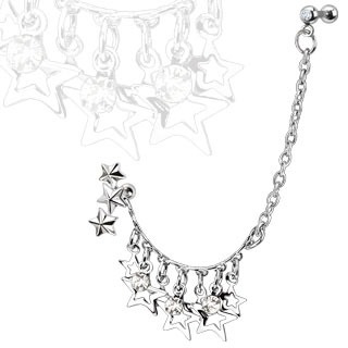 Star & CZs Chain Linked Dangle Triple Star w/ Gemmed Double Cartilage Barbell