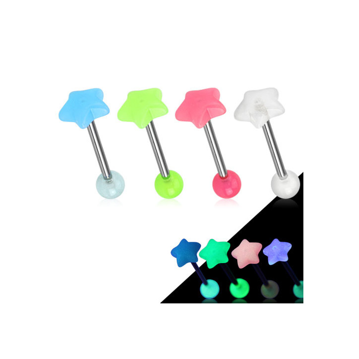 Star Glow in the Dark Top 316L Surgical Steel Barbell