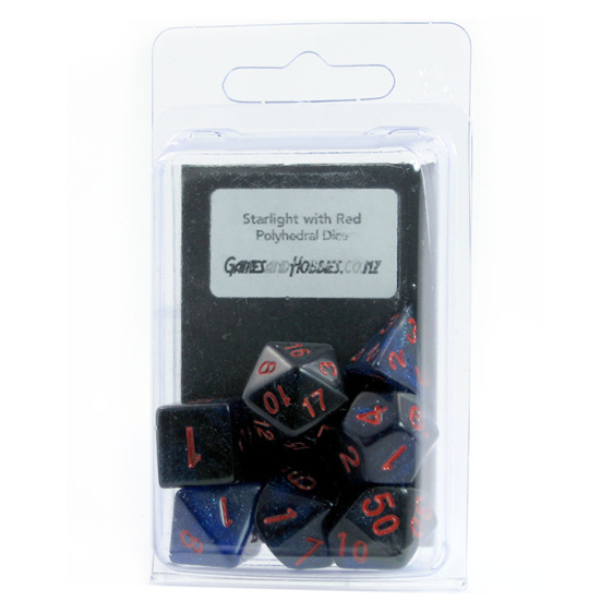 Starlight with Red Polyhedral Dice Games and Hobbies New Zealand NZ