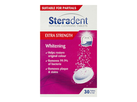 Steradent Denture Cleaning Tablets Extra Strength Intensive Whitening 30 Pack