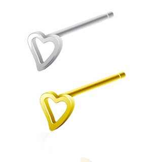 Sterling Silver Hollow Heart Nose Stud 20g