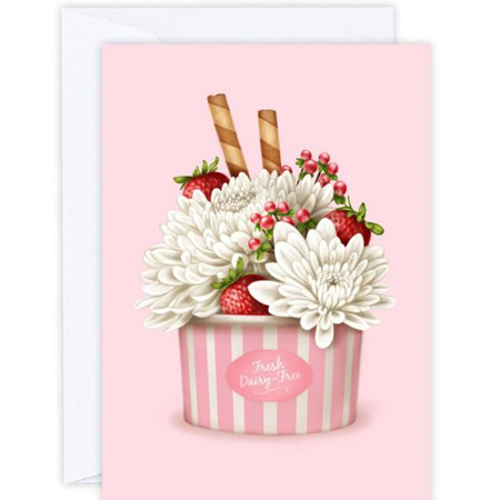 Strawberries and Chrysanthemums Card