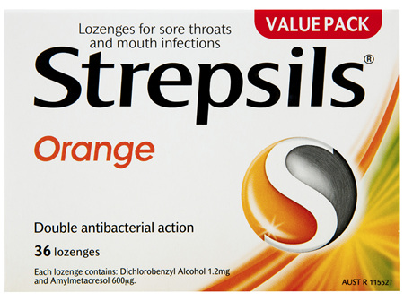 Strepsils Double Antibacterial  Soothing Sore Throat Lozenges Orange 36pk