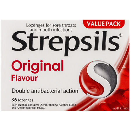 Strepsils Double Antibacterial  Soothing Sore Throat Lozenges Original 36pk