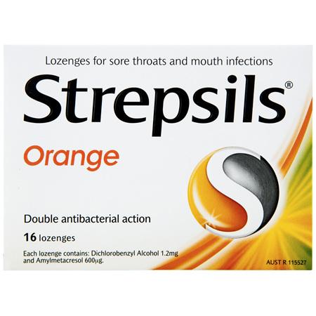 Strepsils Double Antibacterial  Soothing Sore Throat Lozenges Orange 16pk
