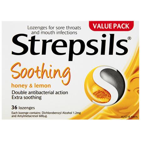 Strepsils Double Antibacterial  Soothing Sore Throat Lozenges Honey and Lemon 36pk