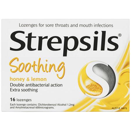 Strepsils Double Antibacterial  Soothing Sore Throat Lozenges Honey and Lemon 16pk