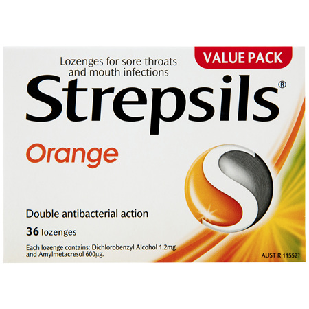 Strepsils Double Antibacterial  Soothing Sore Throat Lozenges Orange 36pk