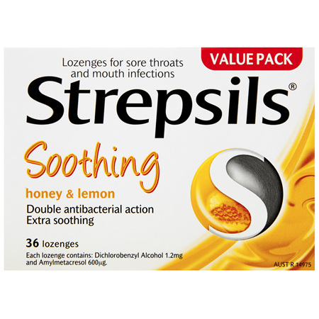Strepsils Double Antibacterial  Soothing Sore Throat Lozenges Honey and Lemon 36pk