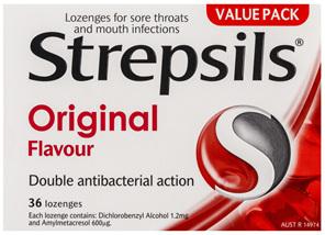 Strepsils Double Antibacterial  Soothing Sore Throat Lozenges Original 36pk