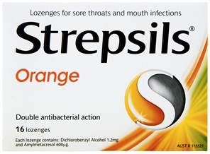 Strepsils Double Antibacterial  Soothing Sore Throat Lozenges Orange 16pk