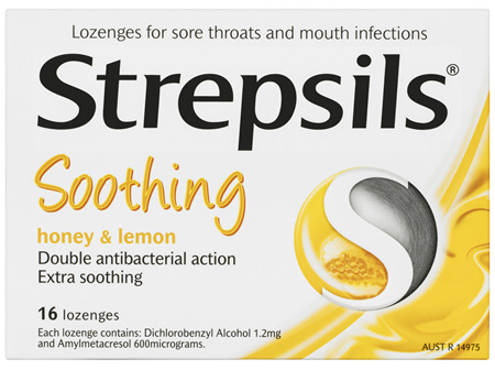 Strepsils Double Antibacterial  Soothing Sore Throat Lozenges Honey and Lemon 16pk