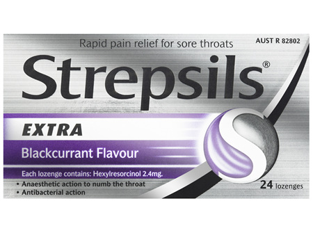Strepsils Extra Blackcurrant Fast Numbing Sore Throat Pain Relief with Anaesthetic Lozenges 24pk