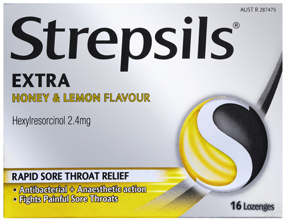 Strepsils Extra Honey and Lemon Fast Numbing Sore Throat Pain Relief with Anaesthetic Lozenges 16pk