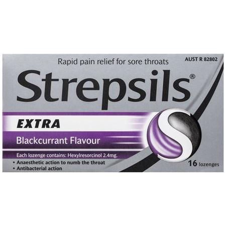 Strepsils Extra Lozenges Blackcurrant 16 Pack