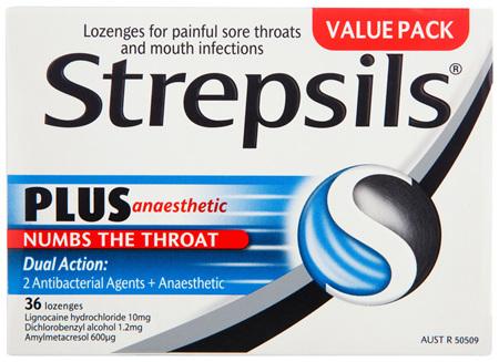 Strepsils Plus Anaesthetic Sore Throat Numbing Pain Relief Lozenges 36pk
