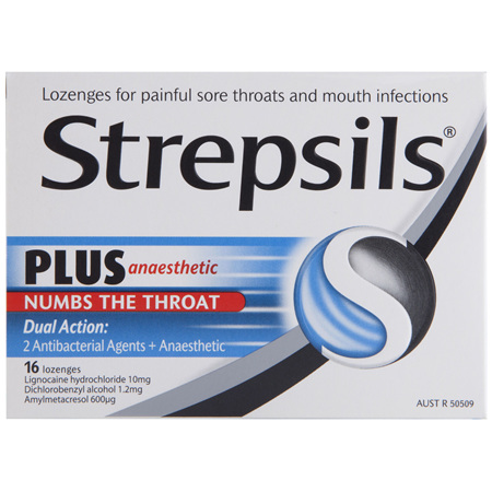 Strepsils Plus Anaesthetic Sore Throat Numbing Pain Relief Lozenges 16pk