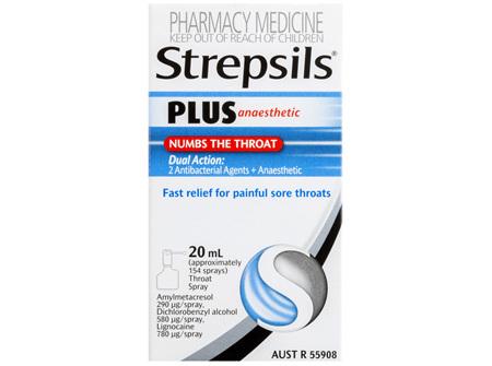 Strepsils Plus Anaesthetic Sore Throat Numbing Pain Relief Spray 20mL