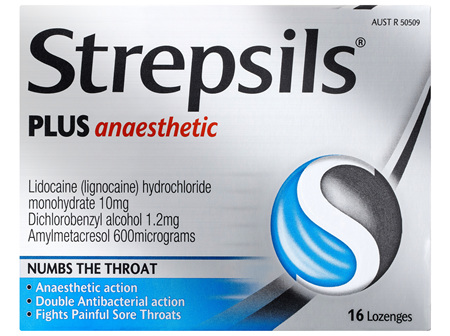 Strepsils Plus Anaesthetic Sore Throat Numbing Pain Relief Lozenges 16pk