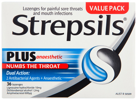 Strepsils Plus Anaesthetic Sore Throat Numbing Pain Relief Lozenges 36pk