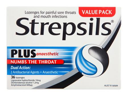 Strepsils Plus Sore Throat Lozenges Pain Relief Numbing 36 Pack