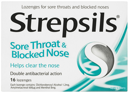 Strepsils Sore Throat Blocked Nose Lozenges Antibacterial Menthol 16pk