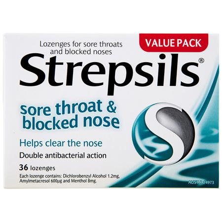 Strepsils Sore Throat Blocked Nose Lozenges Antibacterial Menthol 36pk
