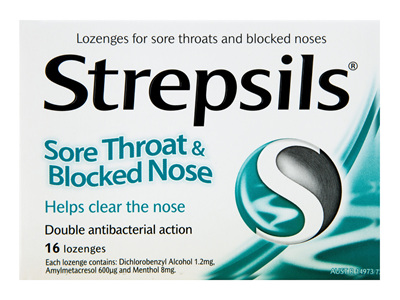 Strepsils Sore Throat & Blocked Nose Lozenges Antibacterial 16 Pack