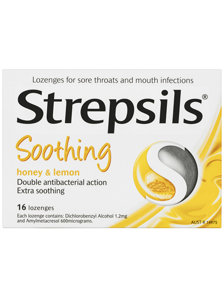 Strepsils Sore Throat Relief Honey & Lemon 16 Pack