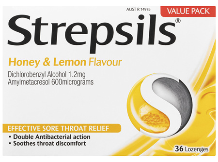 Strepsils Sore Throat Relief Honey & Lemon 36 Pack