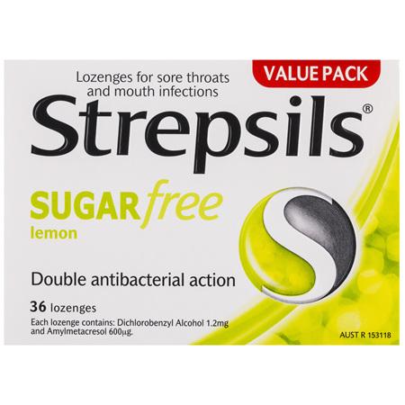 Strepsils Sore Throat Relief Lozenges Sugar Free Lemon 36 Pack
