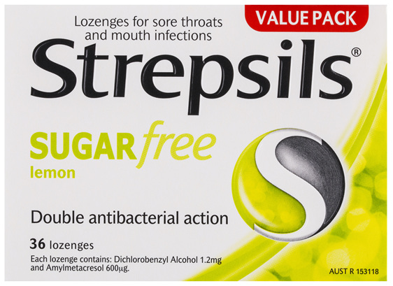 Strepsils Sore Throat Relief Lozenges Sugar Free Lemon 36 Pack