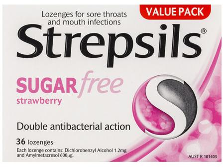 Strepsils Sore Throat Relief Lozenges Sugar Free Strawberry 36 Pack