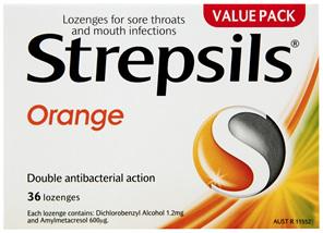 Strepsils Sore Throat Relief Orange Lozenges 36 Pack