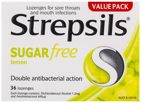 Strepsils Sore Throat Relief Sugar Free Lemon 36 Pack