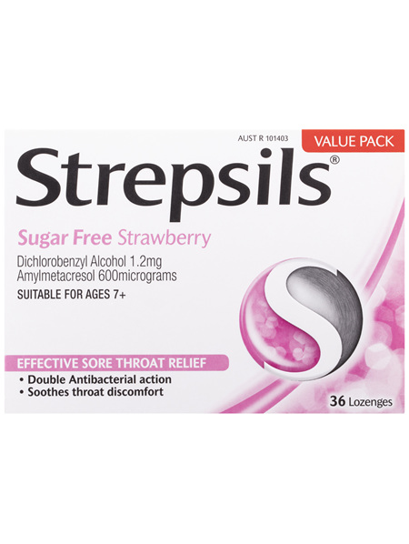Strepsils Sore Throat Relief Sugar Free Strawberry 36 Pack
