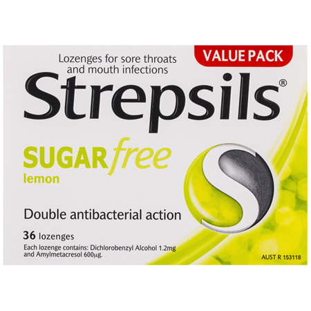Strepsils Sore Throat Sugar Free Antibacterial Lemon Lozenges 36 pack