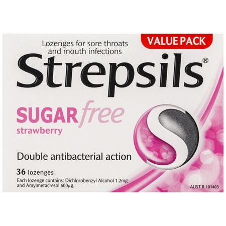 Strepsils Sore Throat Sugar Free Antibacterial Strawberry Lozenges 36pk