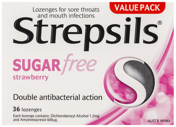 Strepsils Sore Throat Sugar Free Antibacterial Strawberry Lozenges 36pk