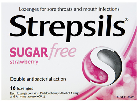 Strepsils Strawberry Sugar Free Lozenges 16 Pack