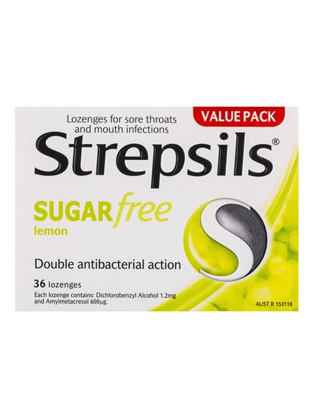 Strepsils Sugar Free Throat Lozenges Lemon Pain Relief 36 Pack