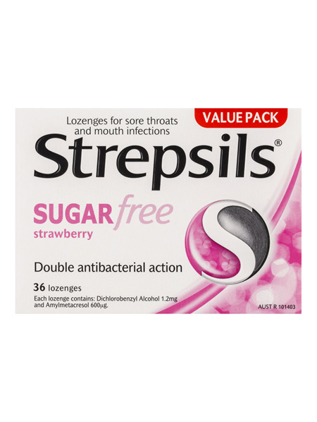 Strepsils Sugar Free Throat Lozenges Strawberry Pain Relief 36 Pack
