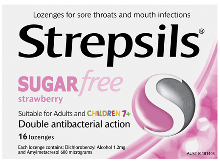 Strepsils Sugarfree Strawberry Lozenges 16 Pack
